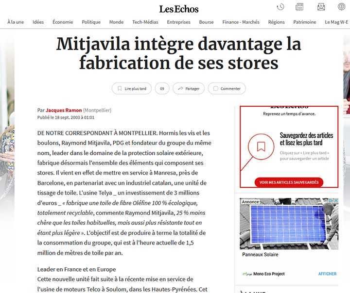 Les echos Mitjavila fabrication stores