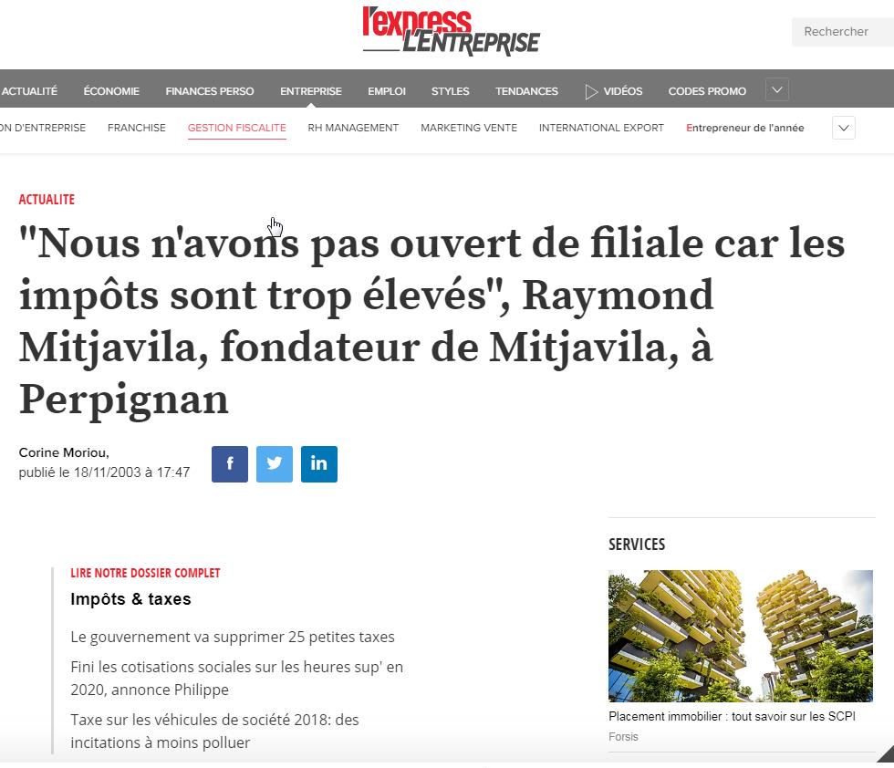 Raymond Mitjavila Impôts trop importants - L'express