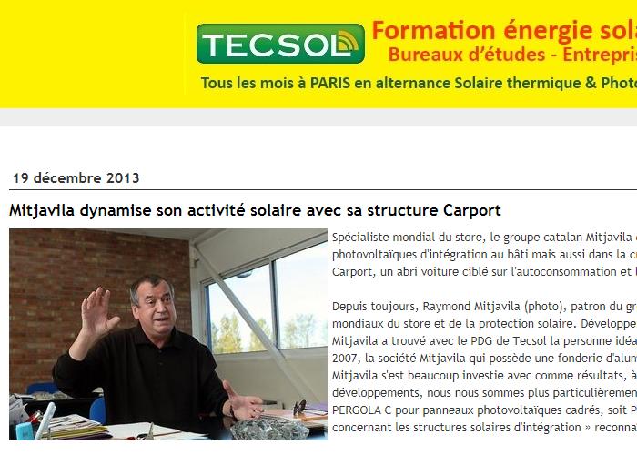 Mitjavila lance en solaire sa structure Carport