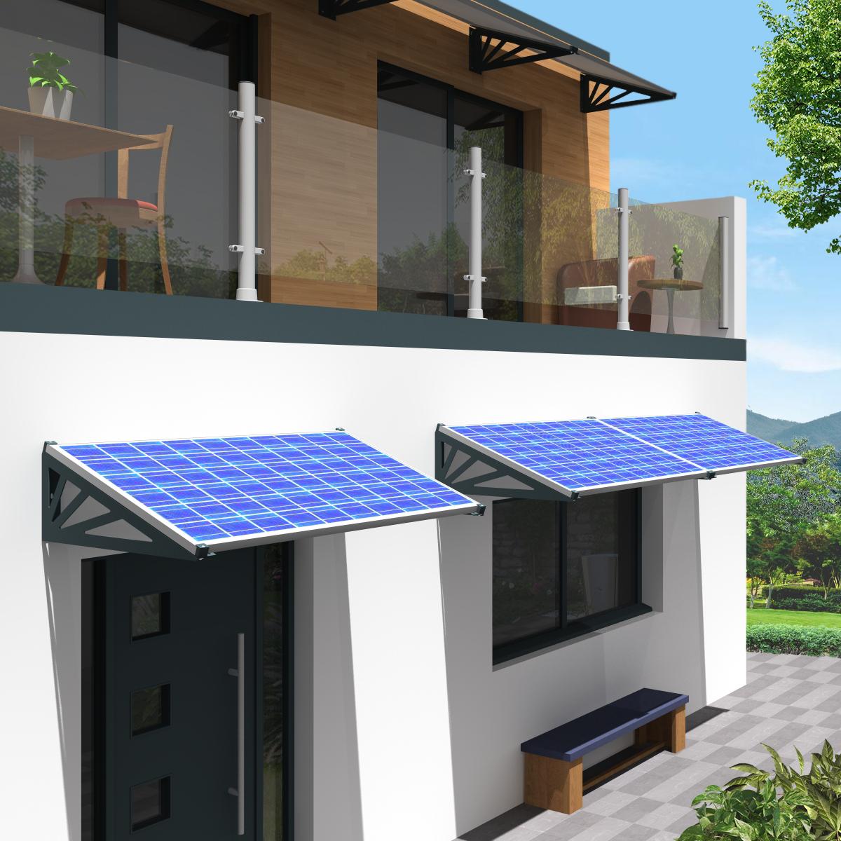 Auvent solaire sur façade maison