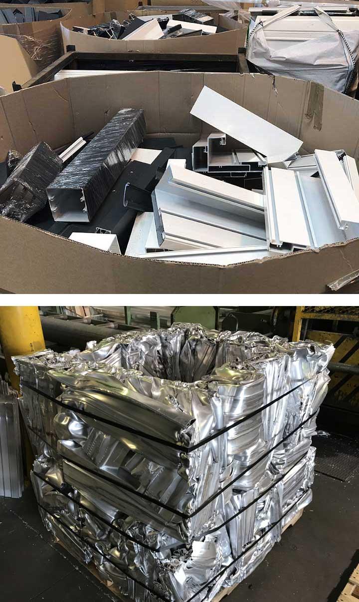 Carton déchets profilés et profilés compactés