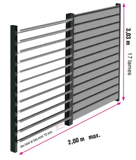 Dimension max claustra alu