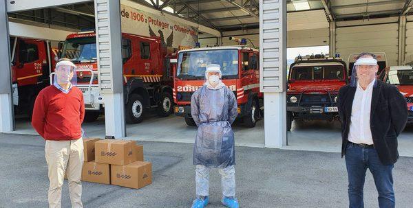 Livraison visières pompiers portugal