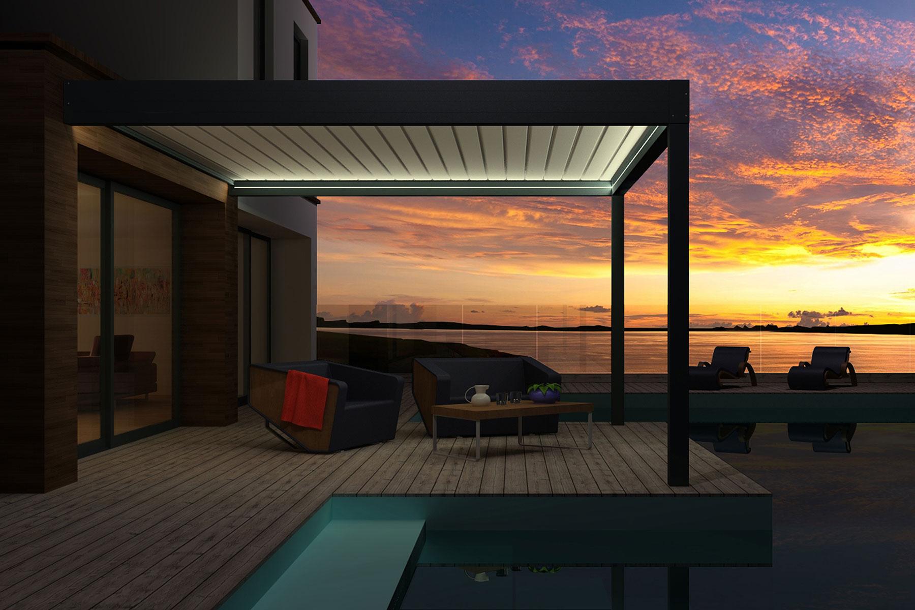 Pergola Horizon 3 de nuit avec option LED
